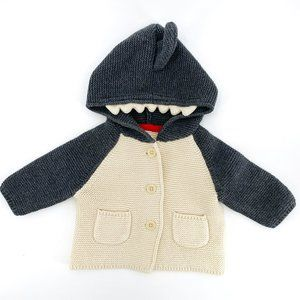 Baby GAP Shark Sweater Size 0-3 Months Hoodie Knit
